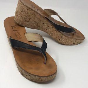 K Jacques sz 40 Diorite Further cork wedge sandal